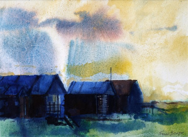 Francis Bowyer Fishing Huts, Walberswick watercolour Frame: 46 x 54 cm Artwork: 25 x 35 cm