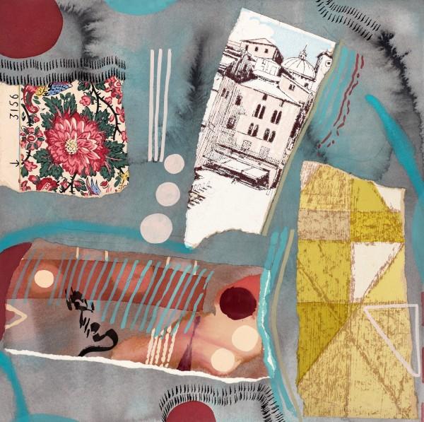 Chloe Fremantle Nostalgia 22 gouache & collage Frame: 49 x 49 cm Artwork: 35 x 35 cm