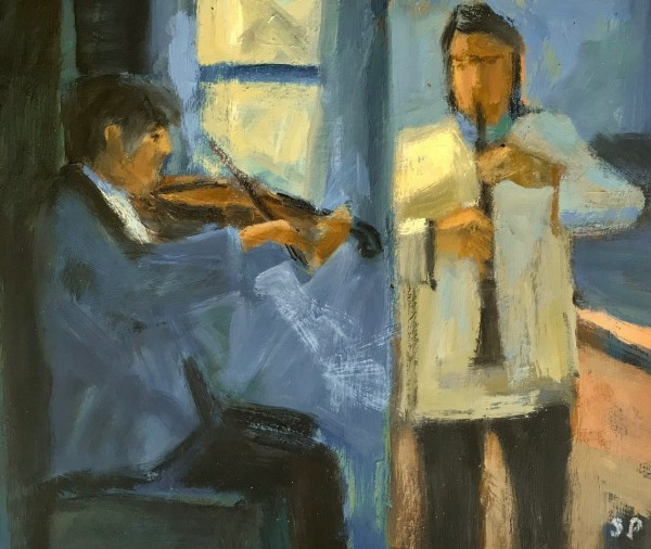 Salliann Putman Online Duet oil Frame: 40 x 45 cm Artwork: 28 x 33 cm