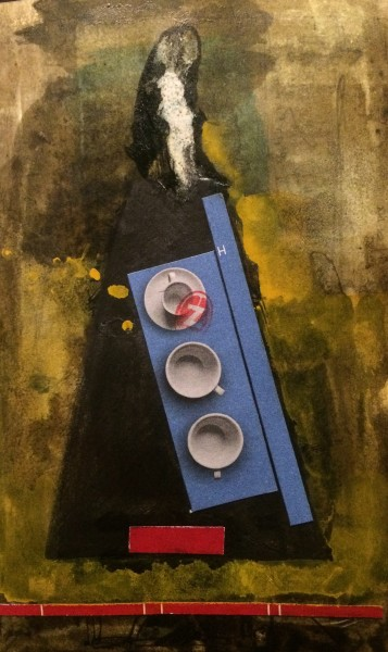 Stuart Robertson London Café 1 watercolour collage Frame: 33 x 28 cm Artwork: 14 x 9 cm