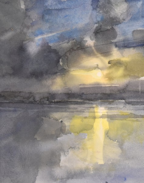 Richard Pikesley Flooded River, Dorset watercolour Artwork: 20 x 23cm