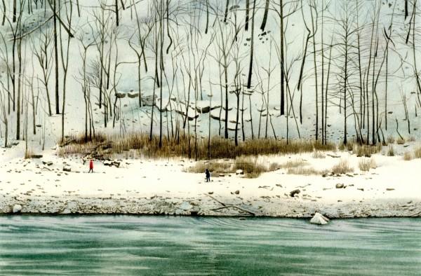 Liz Butler A Winter's Walk at Niagara watercolour Frame: 32 x 42 cm Artwork: 17.7 x 26.3 cm