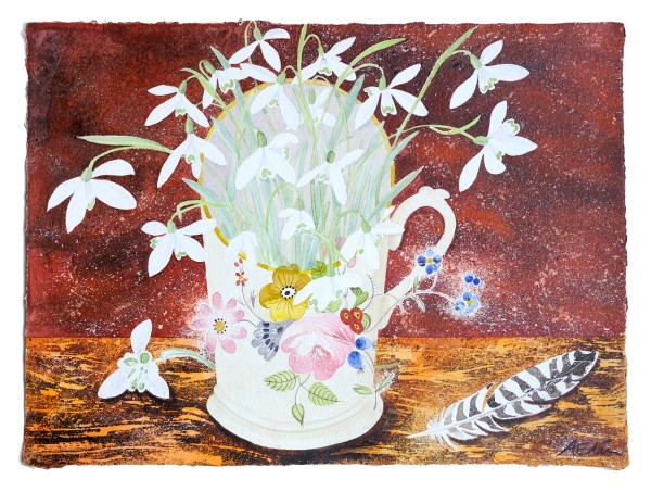Angie Lewin Snowdrops in Floral Cup watercolour Artwork: 38 x 28cm