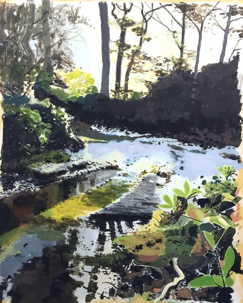 Iain Nicholls Drax Forest Dorset - Winter Study 2 acrylic 34x40cm