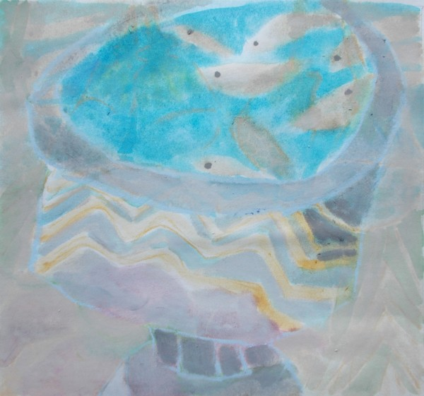 Anne Marlow Urn and Fishes watercolour & pastel 46 x 45cm