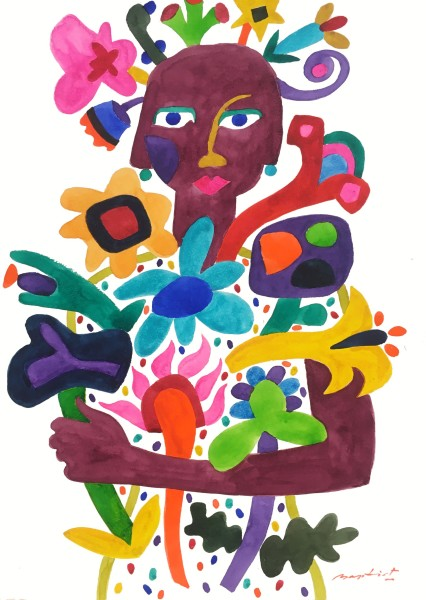 Gerry Baptist Lady of the Flowers watercolour Artwork: 42 x 60cm