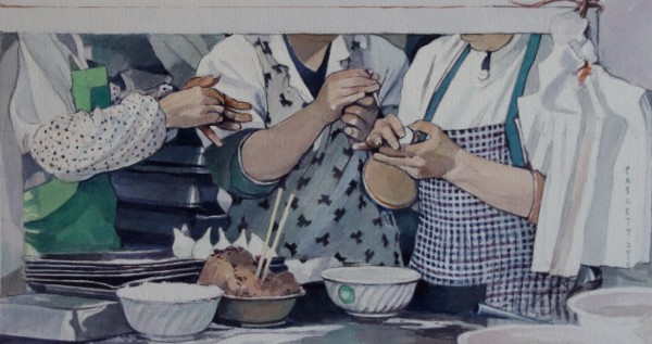 David Paskett Suzhou Dumpling Preparation watercolour Frame: 48 x 67 cm Artwork: 23 x 43 cm