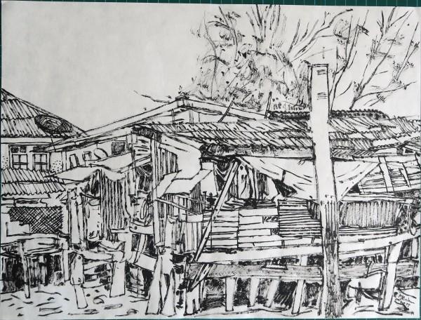 Peter Quinn Bangkok Riverside I ink 44x53cm