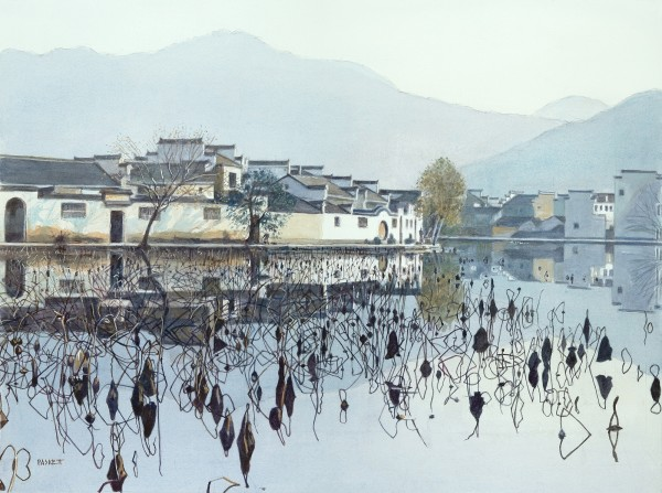 David Paskett Lotus Pond, Hong Cun watercolour