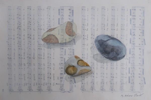 Caroline McAdam Clark Stone Poem watercolour on sheet music Frame: 25 x 32 cm Artwork: 19 x 27 cm