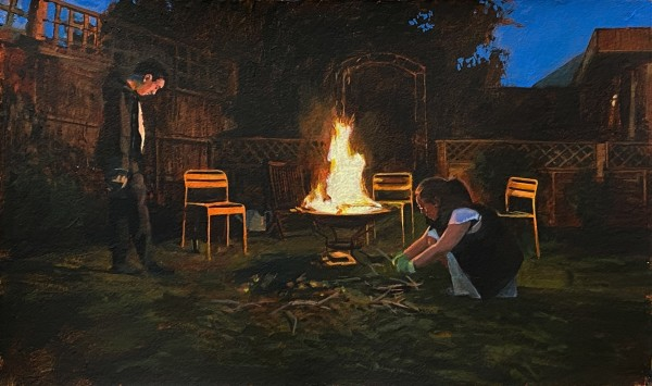 Paul Regan Lockdown bonfire (23.4.20) I acrylic on paper Artwork: 34 x 57cm
