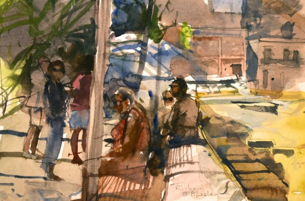 Richard Pikesley Waiting for the Bus, Ponza watercolour Frame: 29 x 36 cm Artwork: 12 x 18 cm