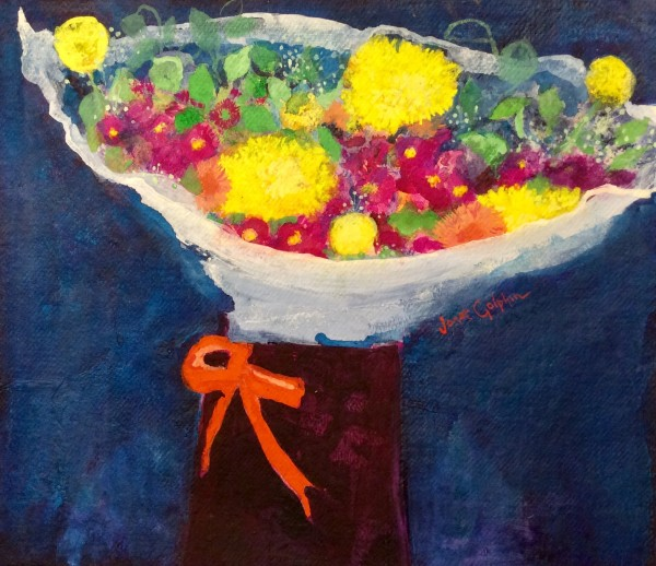 Janet Golphin Boxed Bunch mixed water based media Artwork: 41 x 36cm