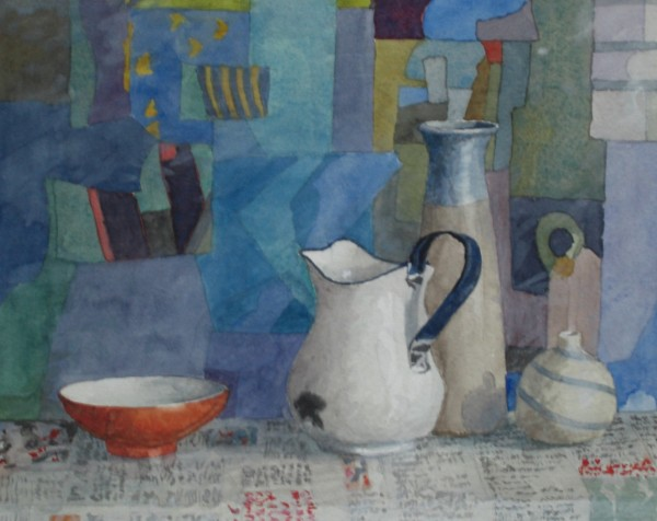 Annie Williams Still Life with Portuguese Jug watercolour Frame: 38 x 42 cm Artwork: 20 x 25 cm