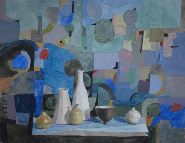 Annie Williams Fields of Blue II watercolour & gouache 58x67cm