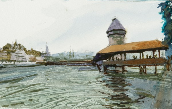 John Newberry Bridge from the South, Lucerne, Switzerland watercolour Frame: 30 x 41 cm Artwork: 12 x 19 cm