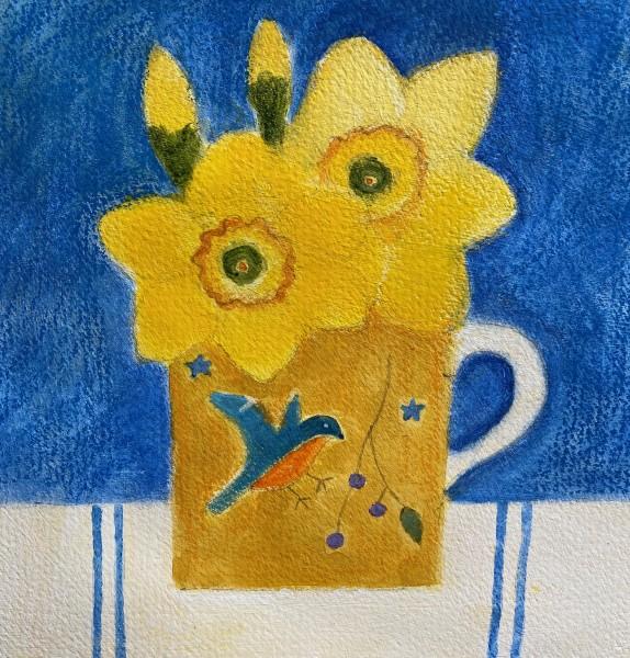 Jill Leman Daffodils in Craigie's Mug watercolour & acrylic 19 x 19cm