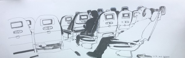 Akash Bhatt In-Flight Entertainment ink Frame: 36 x 88 cm Artwork: 23 x 76 cm