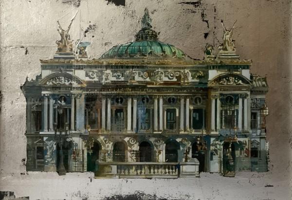 Stuart Robertson Paris Opera House watercolour & silver leaf Frame: 45 x 54 cm Artwork: 23 x 33 cm