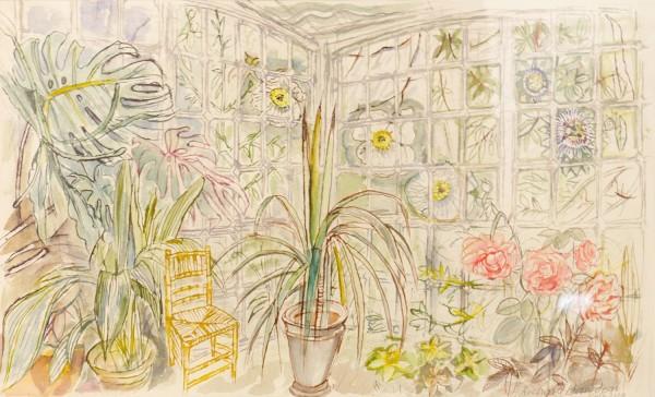 Richard Bawden Granddaughter's Chair watercolour Frame: 49 x 63 cm Artwork: 27 x 44 cm