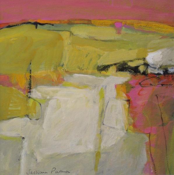 Salliann Putman White Field watercolour & gouache 43x43cm