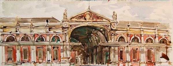 Stuart Robertson Smithfield Market, London watercolour, pen & ink Artwork: 13 x 41 cm Frame: 30 x 58 cm