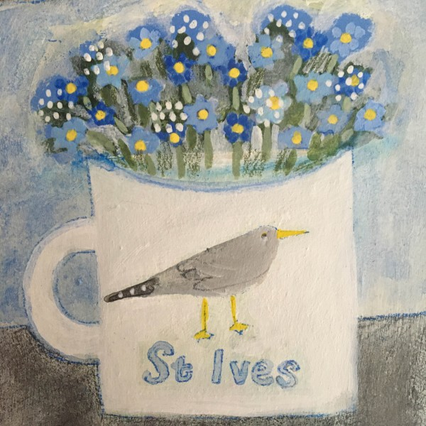 Jill Leman St Ives Forget-me-nots watercolour on paper Frame: 24.5 x 24.5 cm Artwork: 10 x 10 cm
