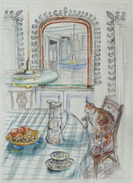 Richard Bawden Through the Mirror watercolour 68x52cm