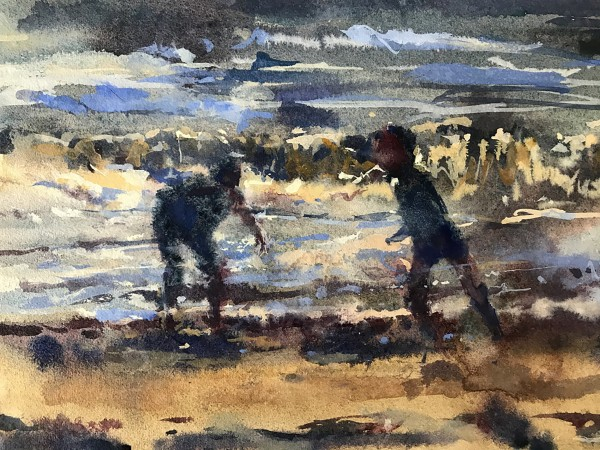Francis Bowyer Beach Play watercolour & bodycolour Artwork: 40 x 33cm