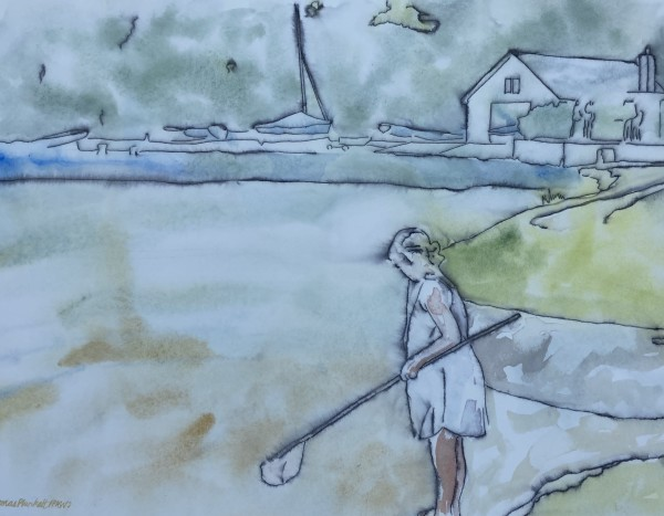 Thomas Plunkett Girl Fishing, Helford River, Cornwall ink & watercolour Frame: 44 x 54 cm Artwork: 30 x 40 cm