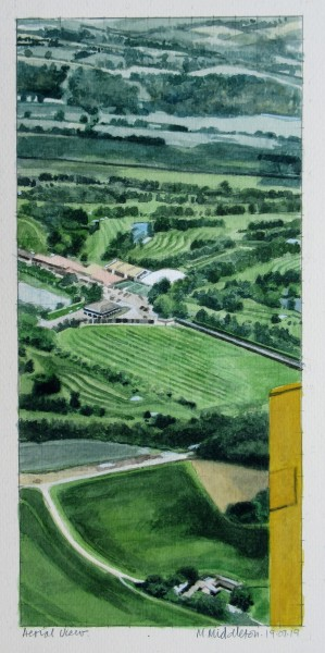 Mike Middleton Aerial View watercolour Frame: 45 x 32 cm Artwork: 28 x 13 cm