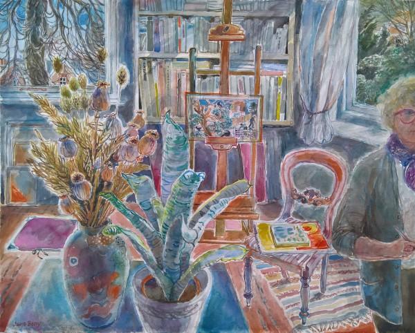 June Berry Autumn Studio watercolour & gouache 49x61cm