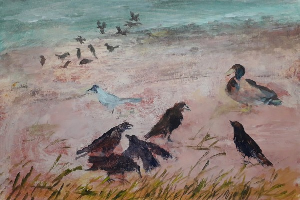 Richard Sorrell Birds by a Lake acrylic