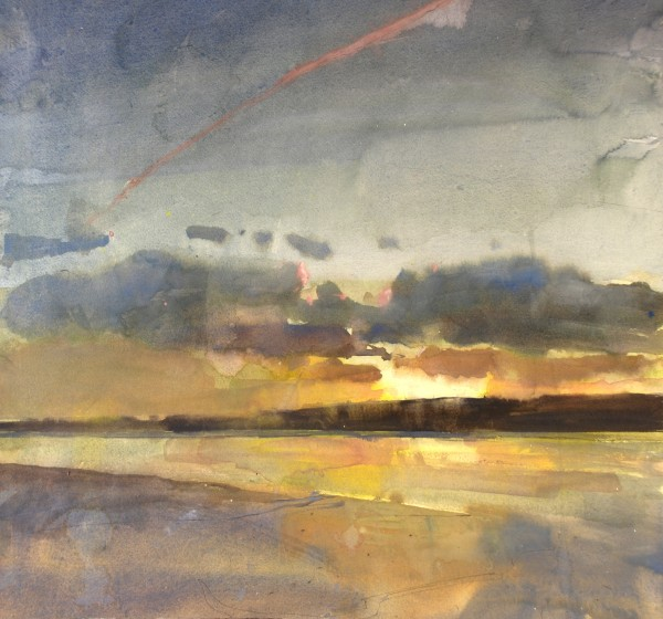 Richard Pikesley Axe, Summer Evening watercolour 65x69cm