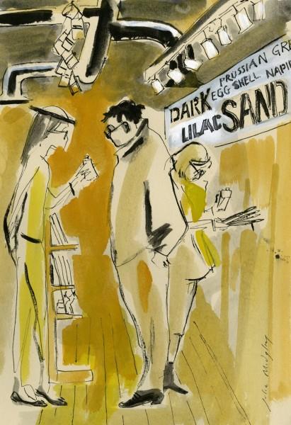 Julia Midgley Art Shop Chat watercolour & ink Artwork: 27 x 18 cm Frame: 47 x 40 cm
