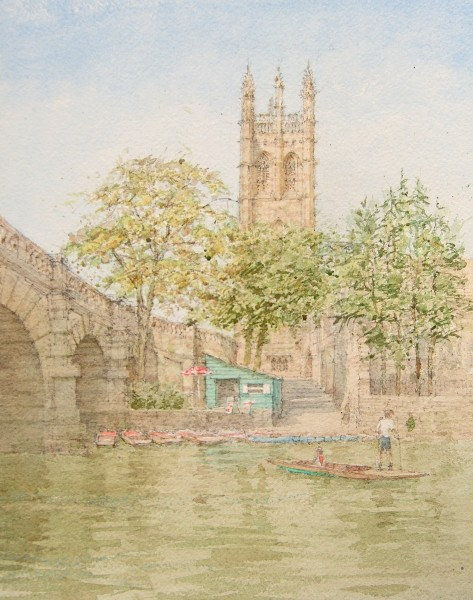 Dennis Roxby Bott Magdalen Tower, Oxford watercolour 58 x 45cm