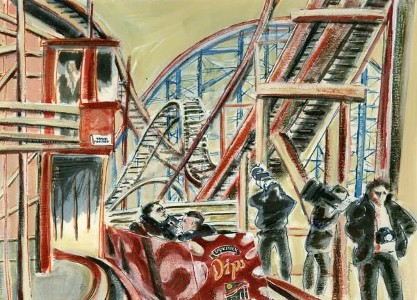 Julia Midgley Duerr's Dips acrylic & watercolour Artwork: 28 x 39 cm Frame: 44 x 54 cm