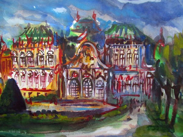Neil Pittaway The Belvedere, Vienna watercolour 46x60cm