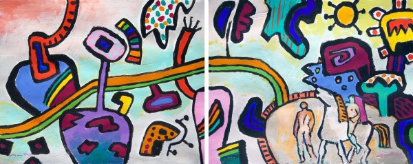 Gerry Baptist No Matter How Long It Takes acrylic Diptych 44 x 108cm