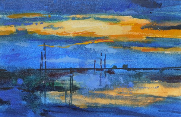 Francis Bowyer Dusk, Walberswick Watercolour and bodycolour