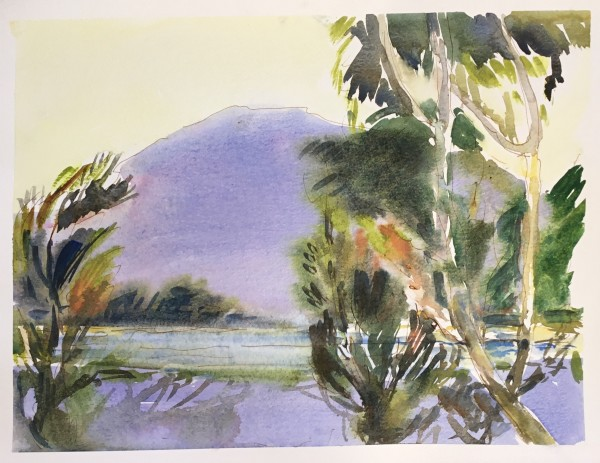 Janet Treloar Zorbas Mountain watercolour Artwork: 30 x 40 cm