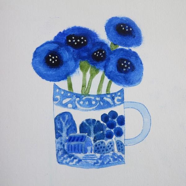 Jill Leman Cornflowers in a Little Blue Cup acrylic