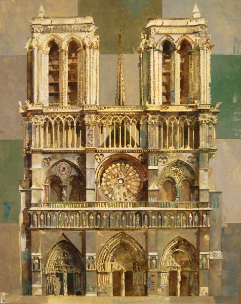 Stuart Robertson Notre Dame watercolour, gouache & collage 70x60cm