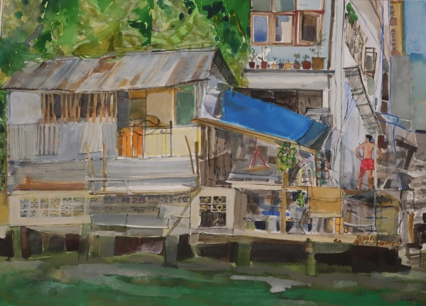 Peter Quinn Bather, by the River, Bangkok watercolour on paper Frame: 70 x 85 cm Artwork: 48 x 63 cm