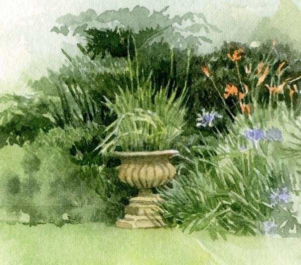 Liz Butler Agapanthus at the Chelsea Physic Garden watercolour Frame: 26 x 26 cm Artwork: 8.4 x 8.4 cm
