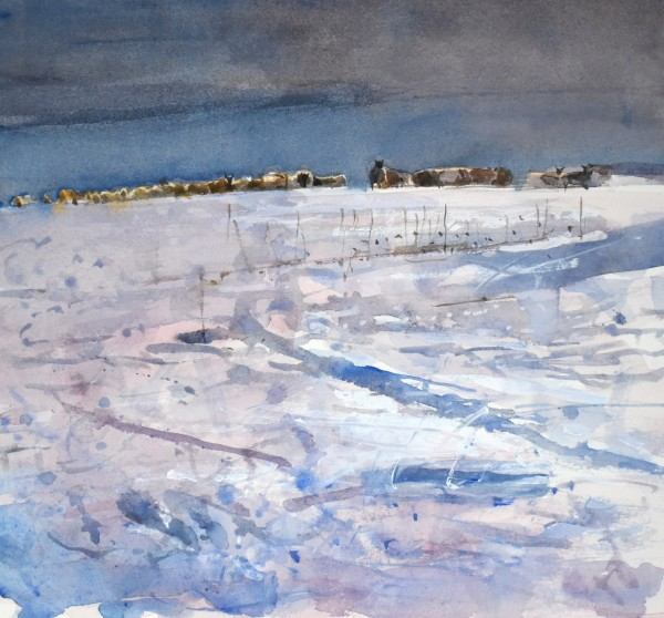 Richard Pikesley, Sheep Tracks in the Snow, Dorset
