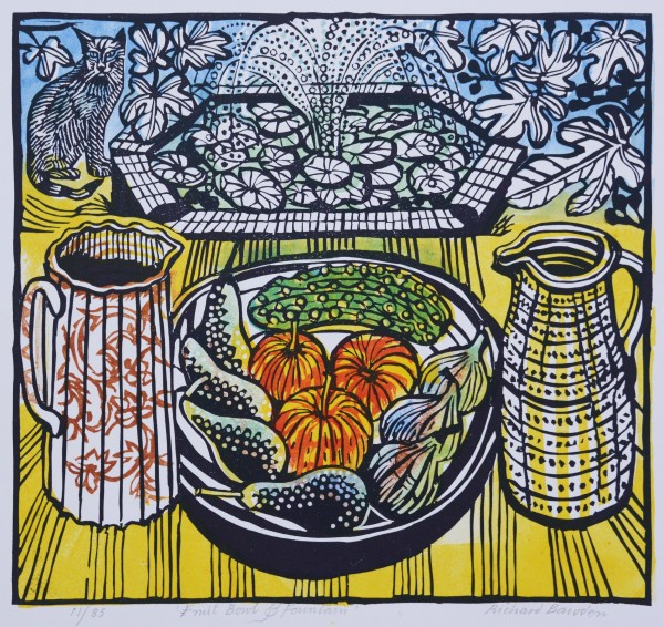 Richard Bawden Fruit Bowl and Fountain linocut 49x52cm