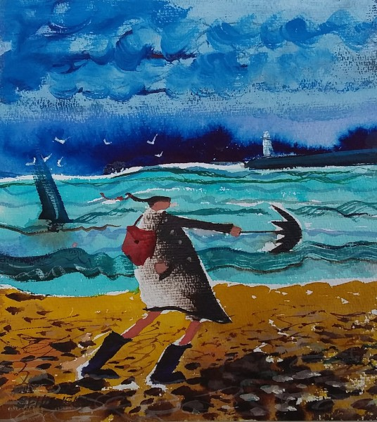 Sue Howells, A Windy Walk on Formby Beach