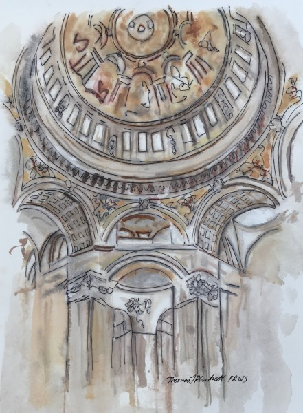 Thomas Plunkett Interior, St Paul's Cathedral ink & watercolour 50x67cm