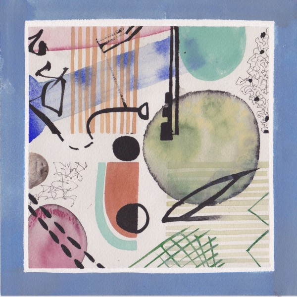 Chloe Fremantle Evocations No 7 gouache & collage Frame: 32 x 32 cm Artwork: 20 x 20 cm